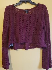 FOREVER 21 Crochet Crop Top in Burgundy